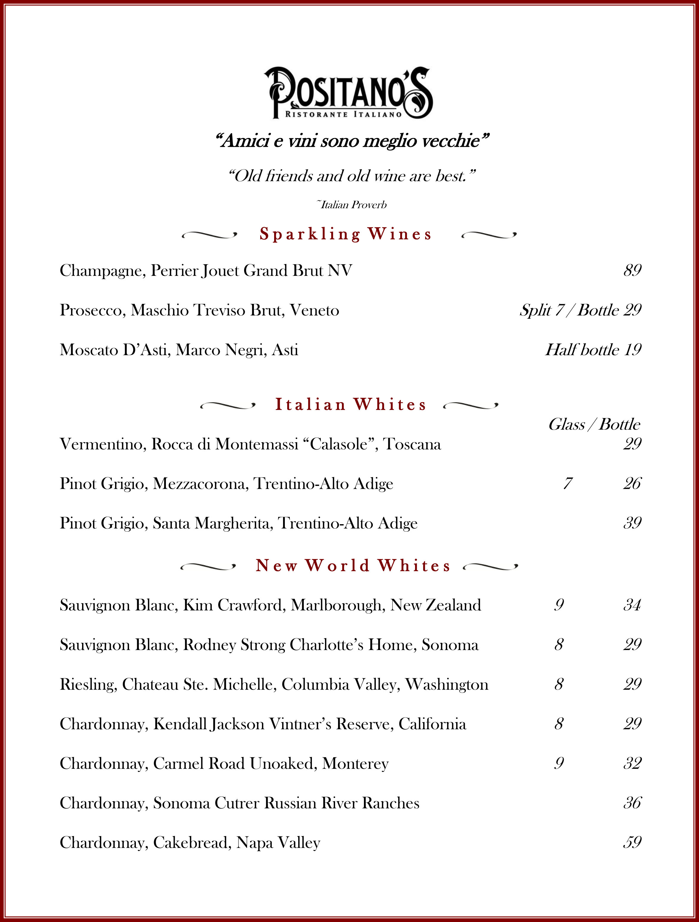 Wine List September 2015 pg 1