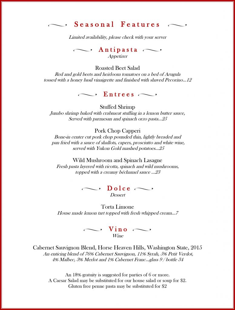 specials, features, positano's, positanos, palm harbor, italian food, new menu, February