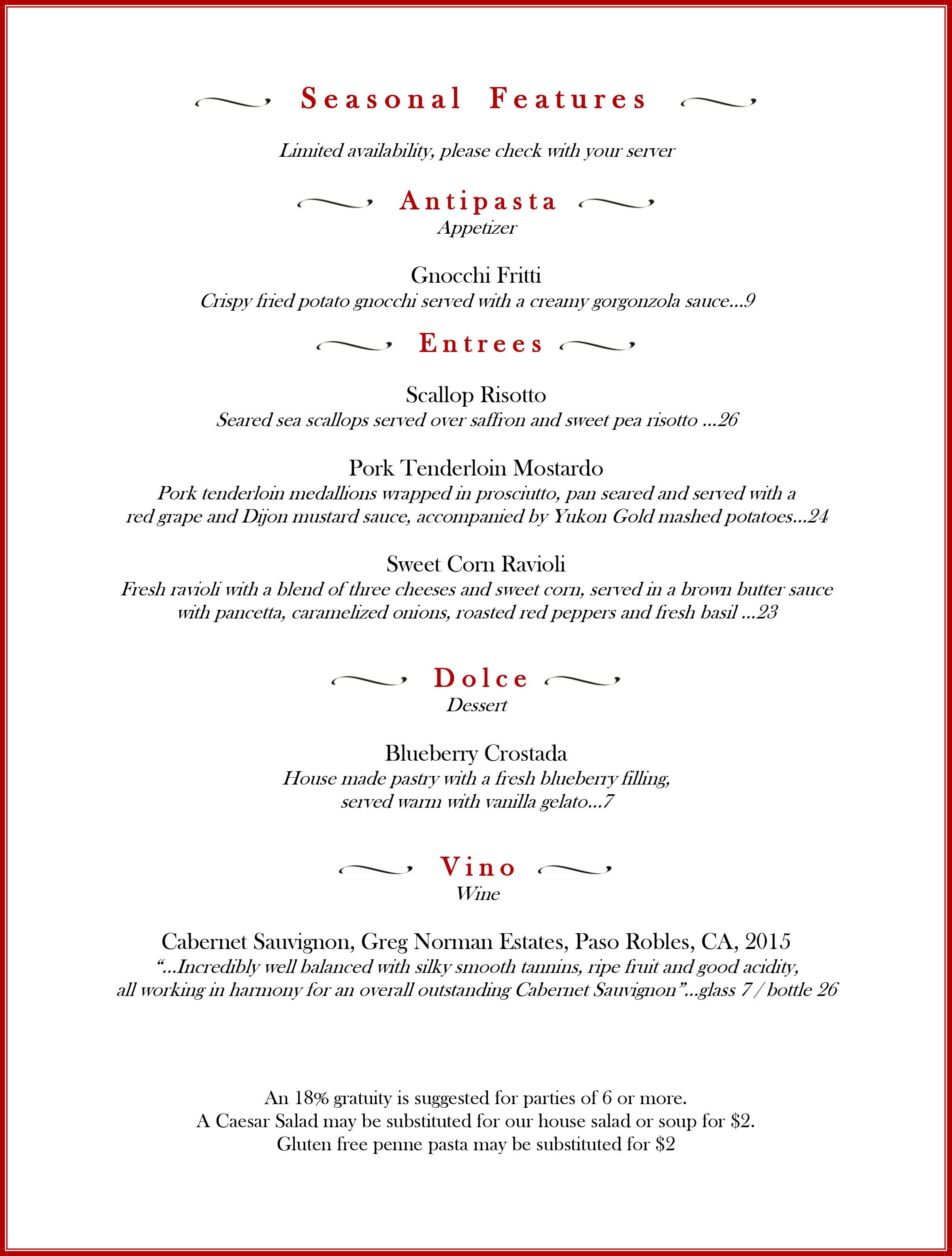 specials, features, positano's, positanos, palm harbor, italian food, new menu, June