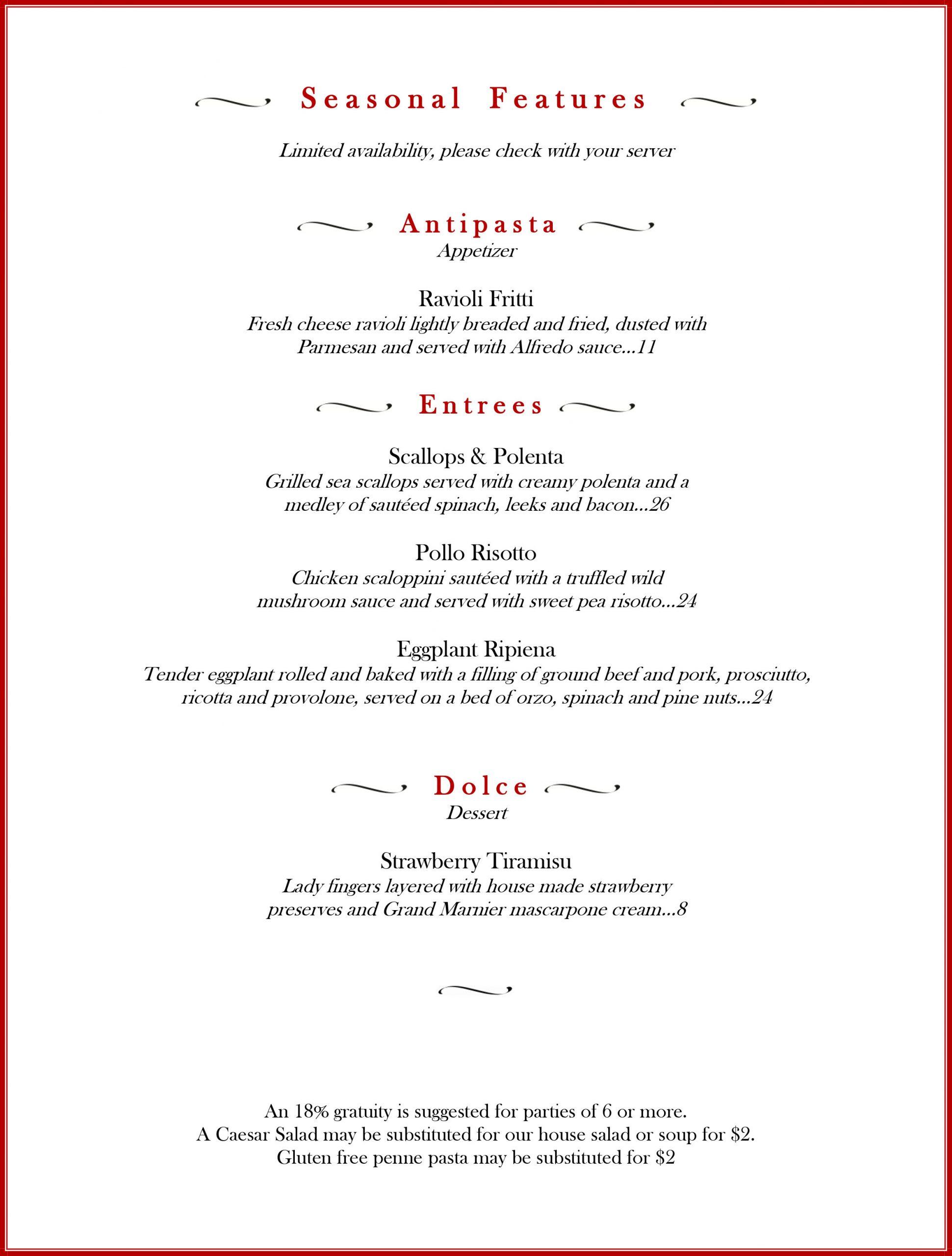 April 2021 Seasonal Feature menu, including ravioli fritti, scallops and polenta, pollo risotto, eggplant ripiena, and strawberry tiramisu, Positano's Palm Harbor